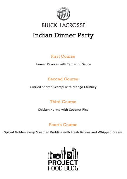 indian dinner party menu evil shenanigans