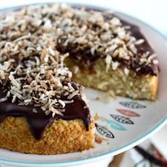 Chocolate Glazed Coconut Cake
